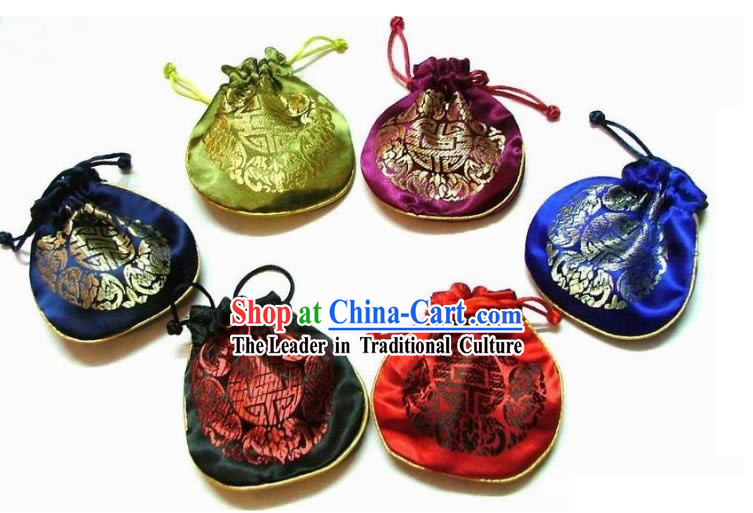 Chinese Classic Silk Drawstring Jewellery Pouches Set-Fu (5 pieces)
