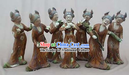 Chinese Classic Archaized Tang San Cai Statue-Group of Tang Dynasty Palace Musicians (7 Pieces Set)