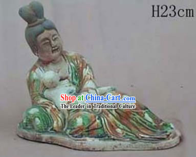 Chinese Classic Archaized Tang San Cai Statue-Tang Dynasty Mother Love