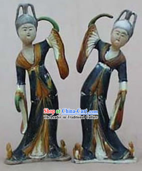 Chinese Classic Archaized Tang San Cai Statue-Tang Dynasty Palace Dancers(Pair)