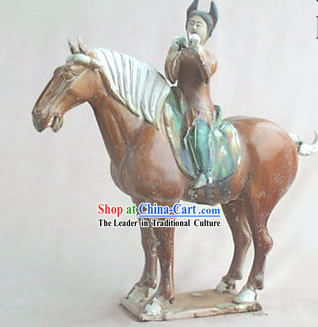 Chinese Classic Archaized Tang San Cai Statue-Tang Dynasty Palace Riding Girl