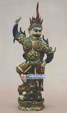 Chinese Classic Archaized Tang San Cai Statue-Ancient Martial Arts Offical