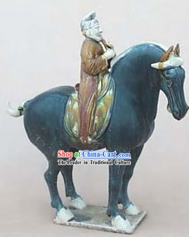 Chinese Classic Archaized Tang San Cai Statue-Tang Dynasty Riding Businessman
