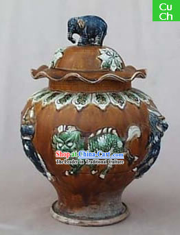 Chinese Classic Archaized Tang San Cai Statue-Elephant Shaped Knob Kylin Lidded Pot