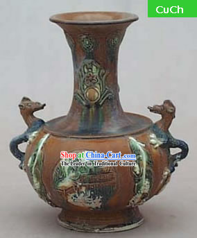 Chinese Classic Archaized Tang San Cai Statue-Dragon Amphora Jar