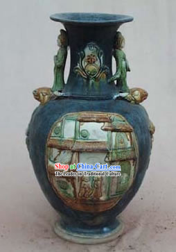 Chinese Classic Archaized Tang San Cai Statue-Tang Dynasty Lady Amphora Jar