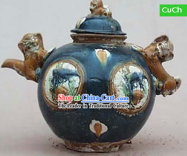 Chinese Classic Archaized Tang San Cai Statue-Foo Dogs Shaped Ear Jar
