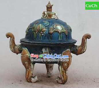 Chinese Classic Archaized Tang San Cai Statue-Tang Dynasty Elephant Foot Censer
