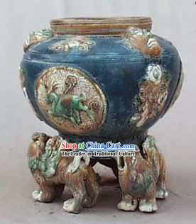 Chinese Classic Archaized Tang San Cai Statue-Kylin Shaped Foot Zun