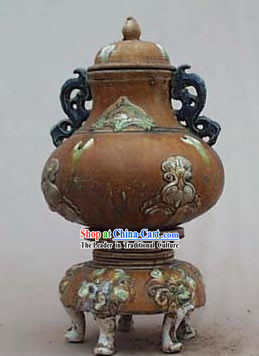 Chinese Classic Archaized Tang San Cai Statue-Tang Dynasty Tower Zun