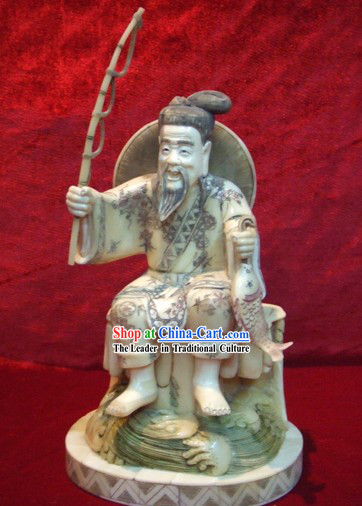 Chinese Classic Ox Bone Handicraft Sculpture Statue-Ancient Old Fishing Man