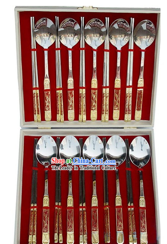 Chinese Classic Red Cloisonne Dishware-20 Pieces Scoops and Chopsticks Set