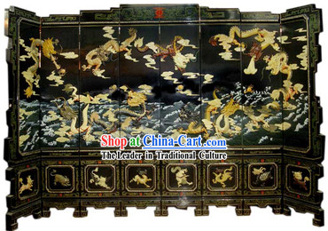 Chinese Hand Made Lacquer Ware Screen-Nine Dragons Legend