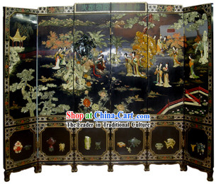 Chinese Hand Made Lacquer Ware Screen-Qing Dynasty Beauties