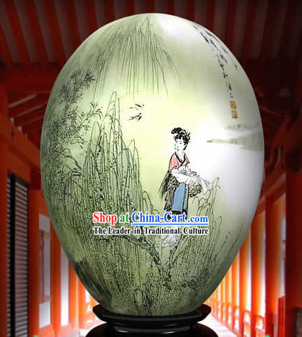 Chinese Wonders Hand Painted Colorful Egg-Ancient Country Girl