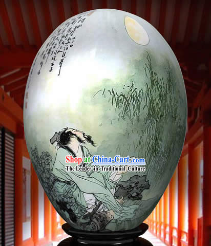 Chinese Wonders Hand Painted Colorful Egg-Du Fu Poet