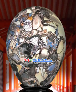 Chinese Wonder Hand Painted Colorful Egg-Ancient War Time Painting