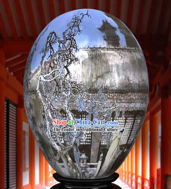 Chinese Wonder Hand Painted Colorful Egg-Ancient Home Yard Painting