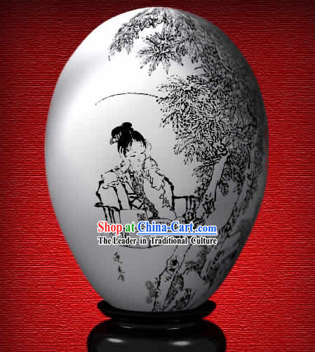 Chinese Wonder Hand Painted Colorful Egg-Spring Girl of The Dream of Red Chamber