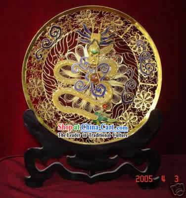 Chinese Palace Cloisonne Golden Dragon Plate
