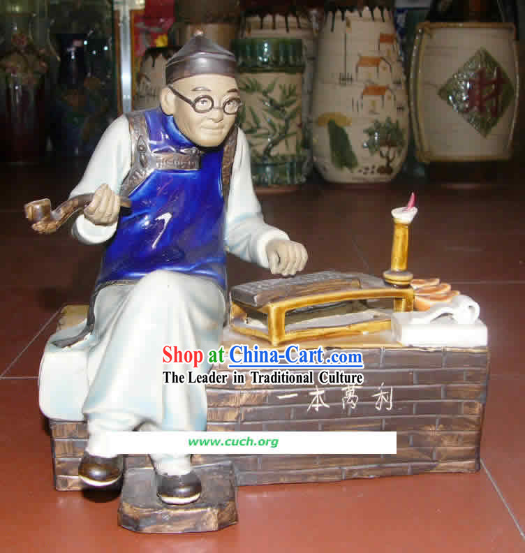 Hand Made Shi Wan Ceramics Statue-Ancient Landowner Doing Accounts