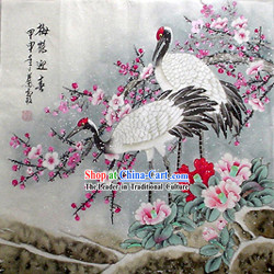 Chinese Hand Painted Painting by Qin Xia-Ancient Cranes