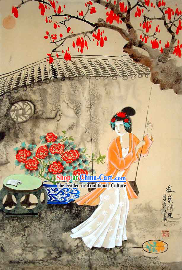 Chinese Traditional Wash Painting-Ancient Palace Beauty Playing The Swing
