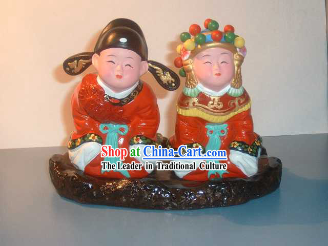 Beijing Hand Made Clay Figurine-Newly Married Couple
