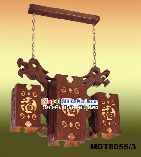 Large Chinese Classical Wooden Dragons Palace Ceiling Lantern
