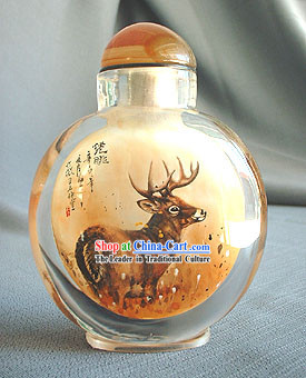 Snuff Bottles With Inside Painting Chinese Animal Series-Beautiful Deer
