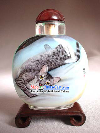 Snuff Bottles With Inside Painting Chinese Animal Series-Cat