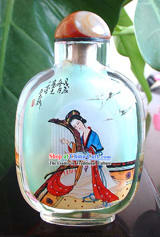Snuff Bottles With Inside Painting Characters Series-Chinese Ancient Beauty Playing Harp