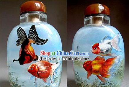 Snuff Bottles With Inside Painting Fishes Series-Golden Fishes