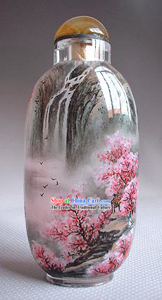 Snuff Bottles With Inside Painting Landscape Series-Peach Waterfall