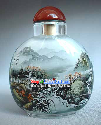 Snuff Bottles With Inside Painting Landscape Series-Chinese Village
