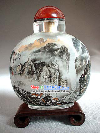 Snuff Bottles With Inside Painting Landscape Series-Chinese Great Mountain