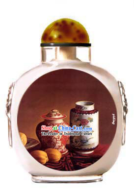 Snuff Bottles With Inside Painting Still Life Series-Chinese Jingde Town Porcelain