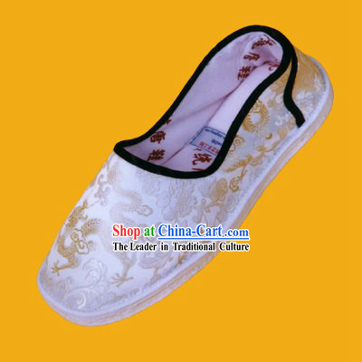 Chinese Hand Made Folk Dragon White Cloth Shoes for Man