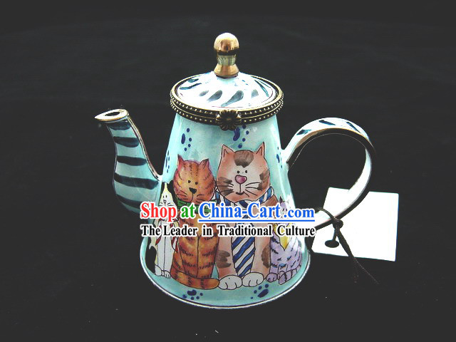 Chinese Hand Painted Enamel Bottle-Cats Family