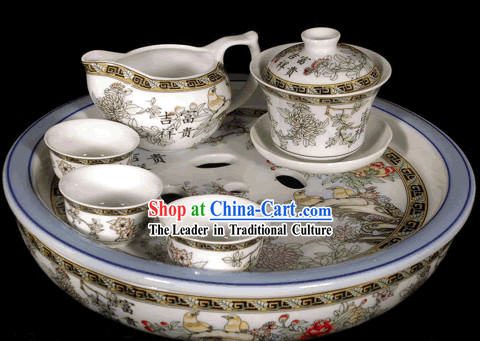 Riches and Honour Kungfu Jingde Town Porcelain Tea Set(11 pieces)