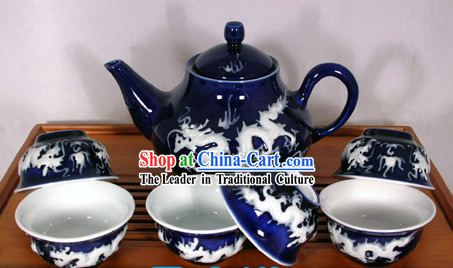 China Jingde Basso Relievo Porcelain Double Draongs Playing Ball Tea Set