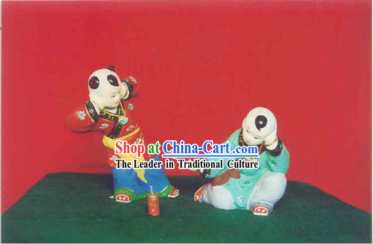 Hand Painted Sculpture Arts of Clay Figurine Zhang-Playing Fireworks to Celebrate New Year