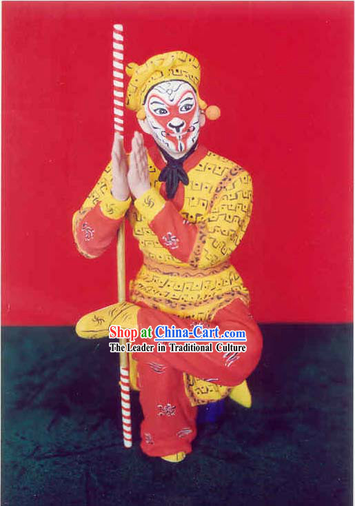 China Hand Painted Sculpture Art of Clay Figurine Zhang-Hero Sun Wukong