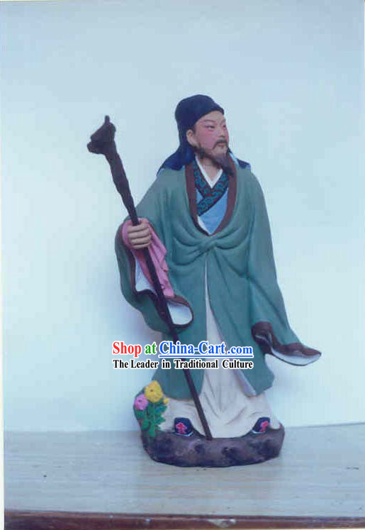 Chinese Hand Painted Sculpture Art of Clay Figurine Zhang-China Famous Poet Tao Yuanming
