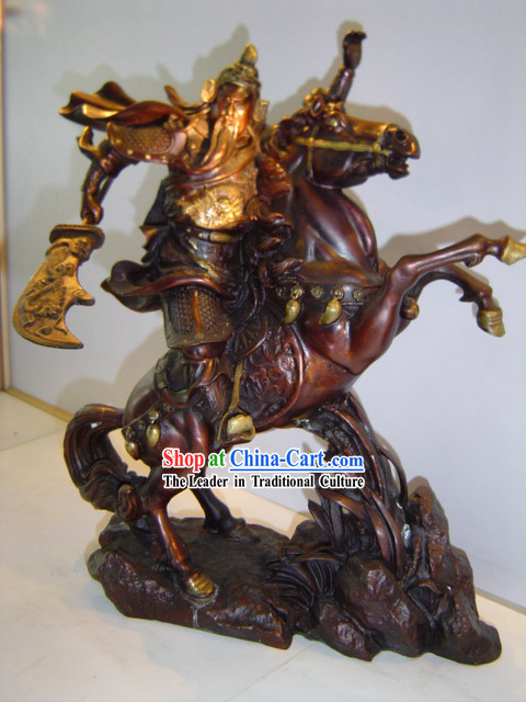 Chinese Classic Brass Statue-Riding Guan Gong
