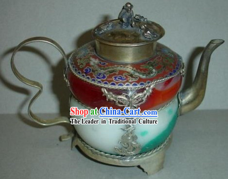Chinese Ancient Princess Style Silver and Jade Kettle