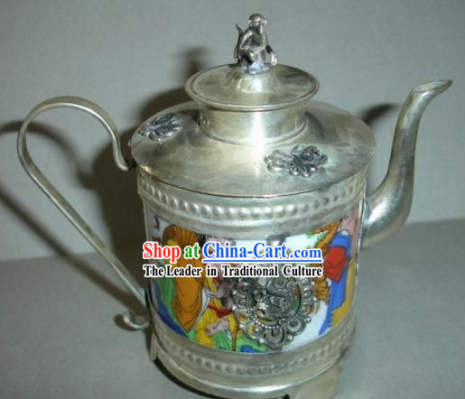 Chinese Tang Dynasty People Silver and Jade Kettle