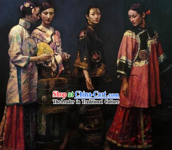 Chinese Hand Embroidered Rare Piece of Works-Women