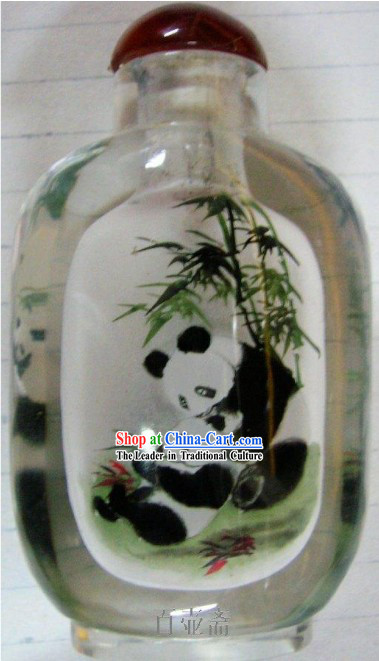 Chinese Classical Snuff Bottle With Inside Painting-Pandas