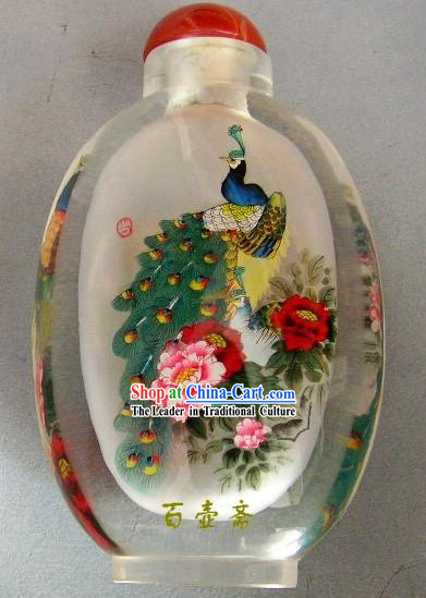 Chinese Classical Snuff Bottle With Inside Painting-Peacock King
